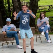 Matthew Scott of Liberty High School Performing Arts helps tell the tale called The Three Old Women's Bet.